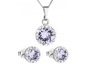 Súprava šperkov okrúhly model so Swarovski crystals - violet svetlo fialová