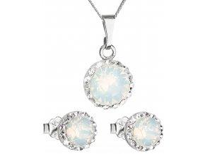 Súprava šperkov okrúhly model so Swarovski Crystals biely opál