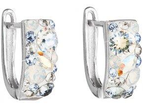 Strieborné dámske náušnice visiace polkruhy so Swarovski Crystals