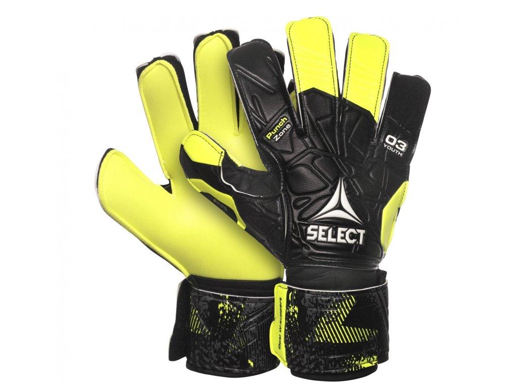 Brankářské rukavice Select GK gloves 03 Youth Flat cut černo žlutá