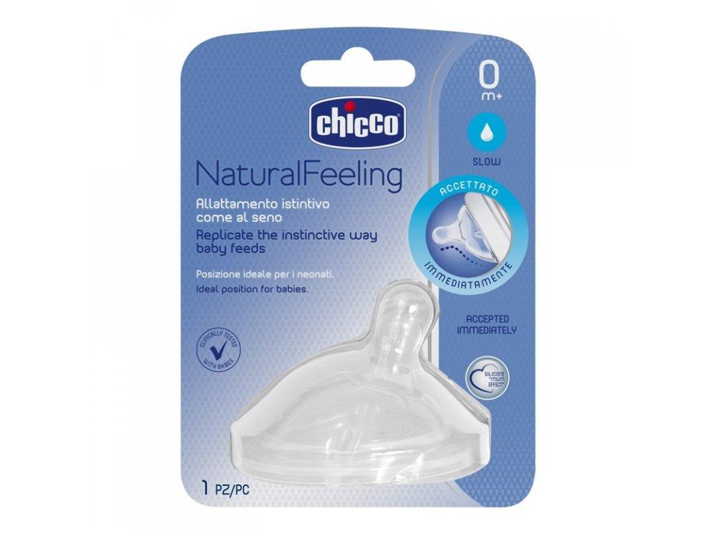 CHICCO Dudlík na láhev Natural Feeling silikon, pomalý průtok 0m+, 1 ks
