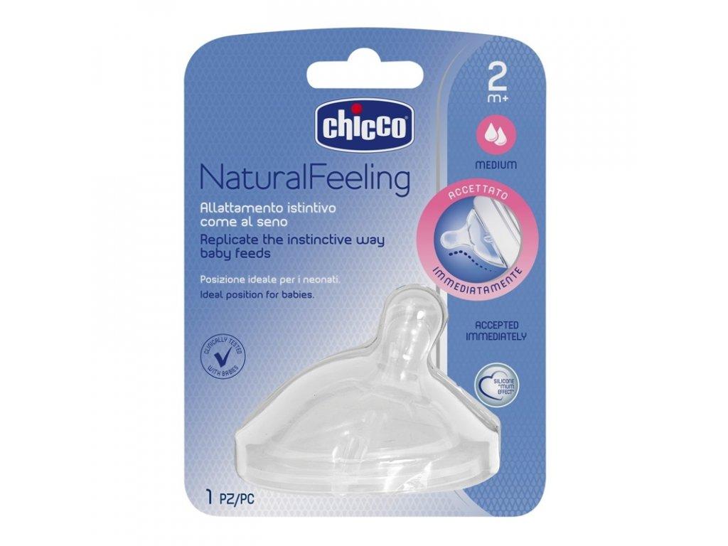 CHICCO Dudlík na láhev Natural Feeling silikon, střední průtok 2m+, 1 ks