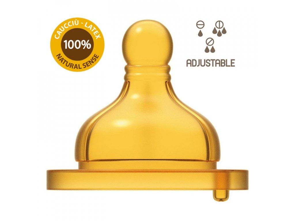 CHICCO Dudlík na láhev Original Touch latex, variabilní průtok 2 ks