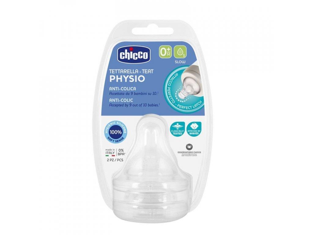 CHICCO Dudlík na láhev Perfect 5/Well-Being fyziologický pomalý průtok  0m+, 2 ks