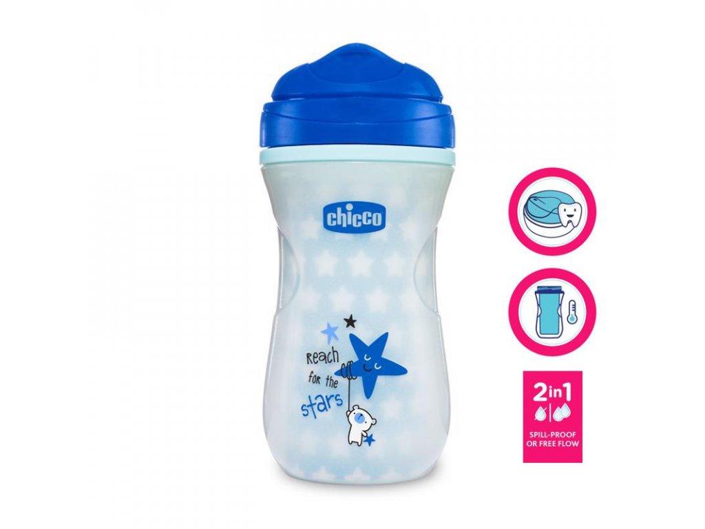CHICCO Hrneček Shiny termo floureskujíci s tvrdým pítkem 266 ml, modrý 14m+