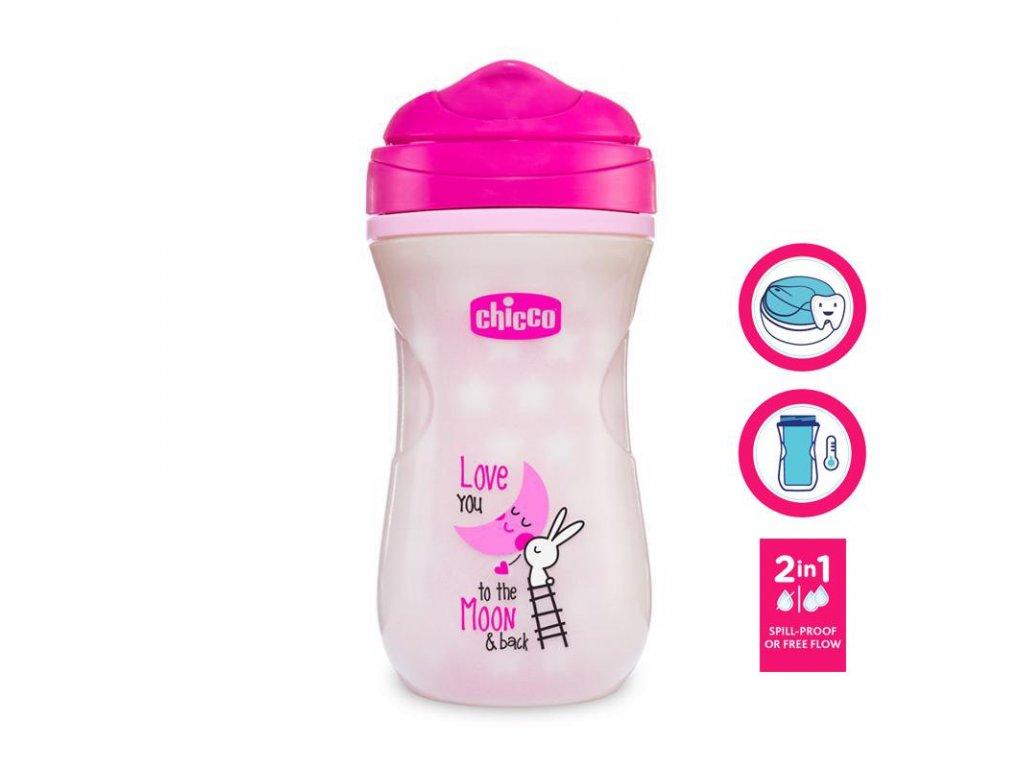 CHICCO Hrneček Shiny termo floureskujíci s tvrdým pítkem 266 ml, růžový 14m+