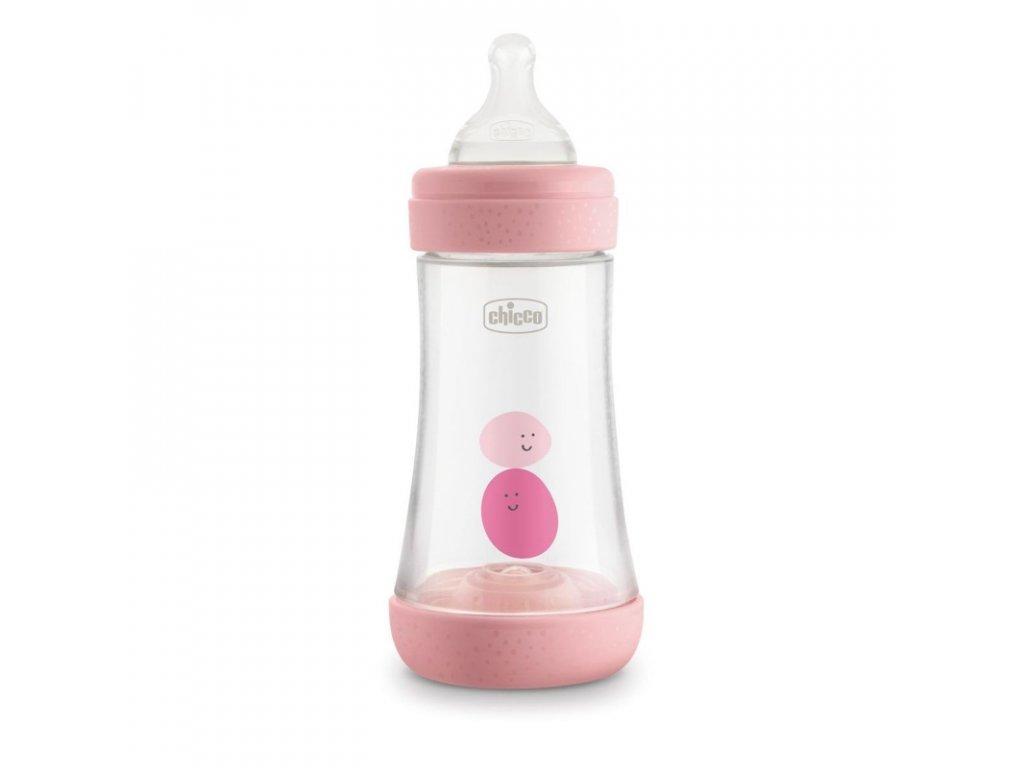 CHICCO Láhev kojenecká Perfect 5 silikon, 240 ml dívka