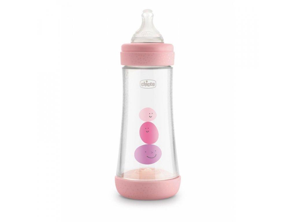 CHICCO Láhev kojenecká Perfect 5 silikon, 300 ml dívka