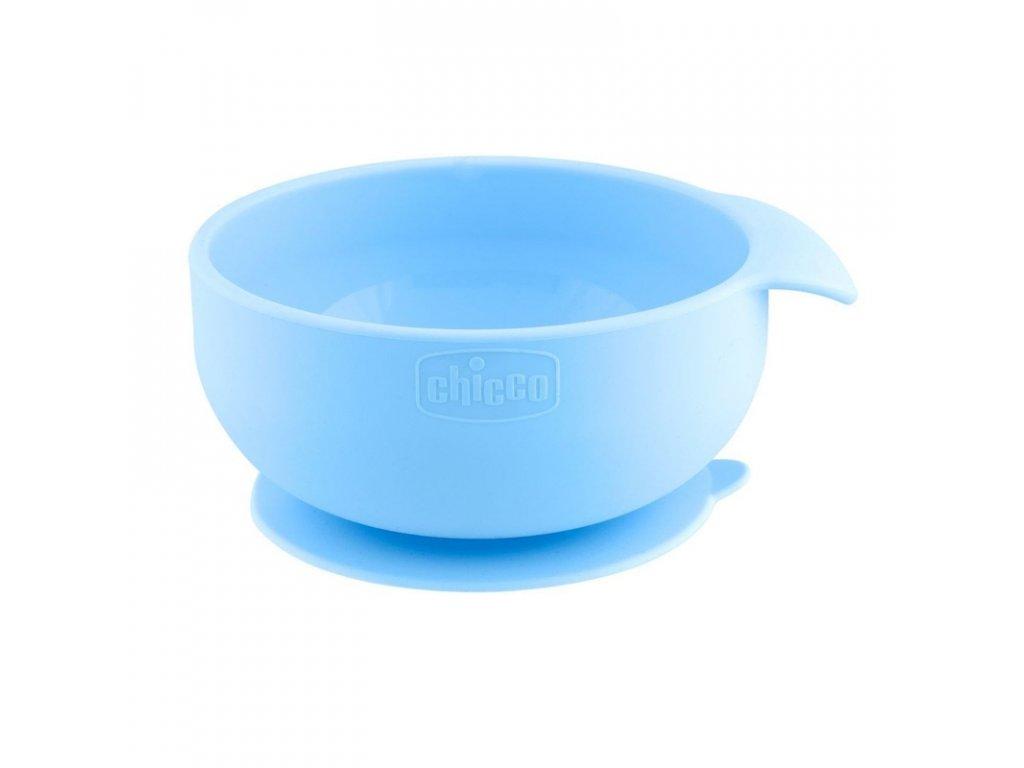 CHICCO Silikonová miska s přísavkou modrozelená 6 m+