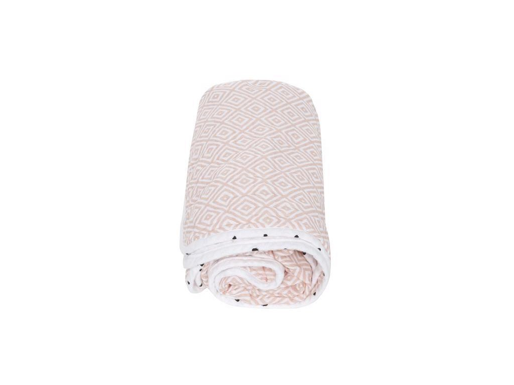 MOTHERHOOD Deka bavlněná mušelínová dvouvrstvá Pre-Washed Pink Squares 95x110 cm