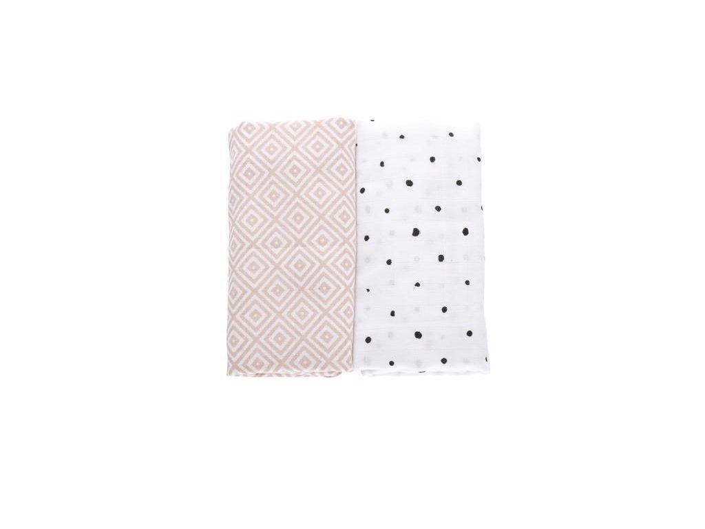 MOTHERHOOD Přikrývka mušelínová Pink Squares 100x120 cm, 2 ks