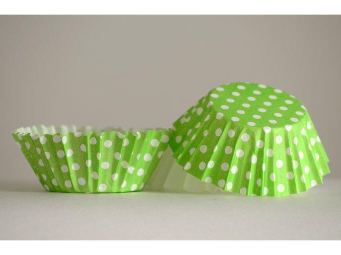Zelené s bílými puntíky