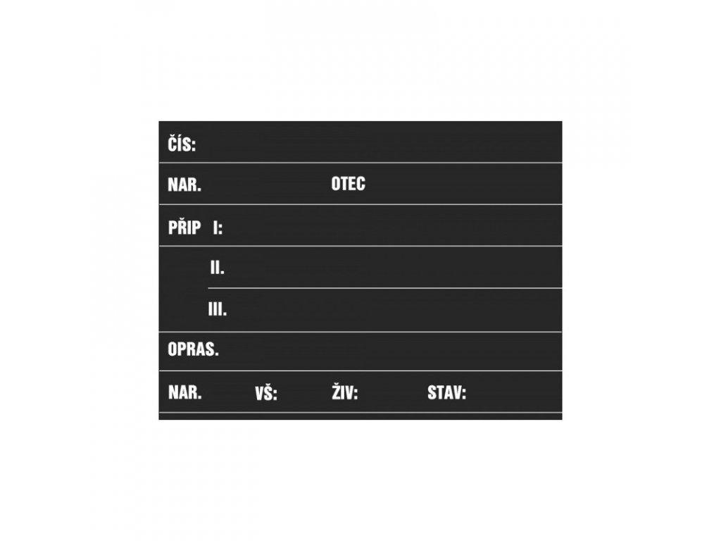 Tabulka stájová prasnice TP 120, popis křídou
