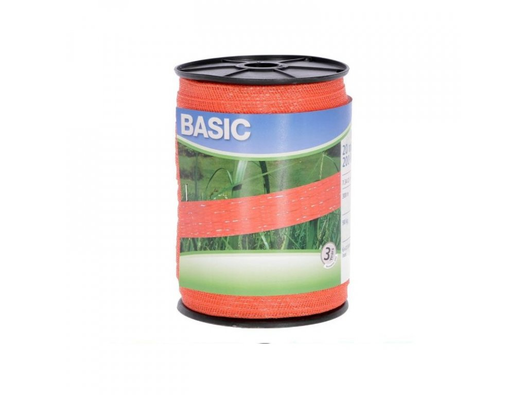 Páska BASIC pro el. ohradník, 20 mm x 200 m, 6x 0,16 mm, oranžová