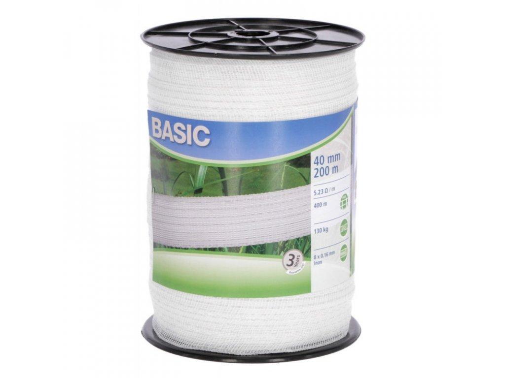 Páska BASIC pro el. ohradník, 40 mm x 200 m, 8x 0,16 mm, bílá