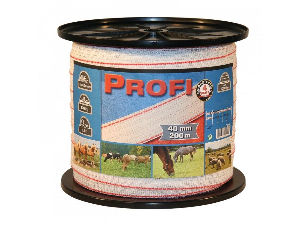 Páska PROFI pro el. ohradník, 40 mm x 200 m, 11 x TriCOND 0,3 mm, bílo-červená