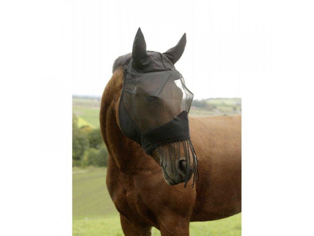 Maska proti hmyzu s ušima + třásně přes nozdry, full, černá