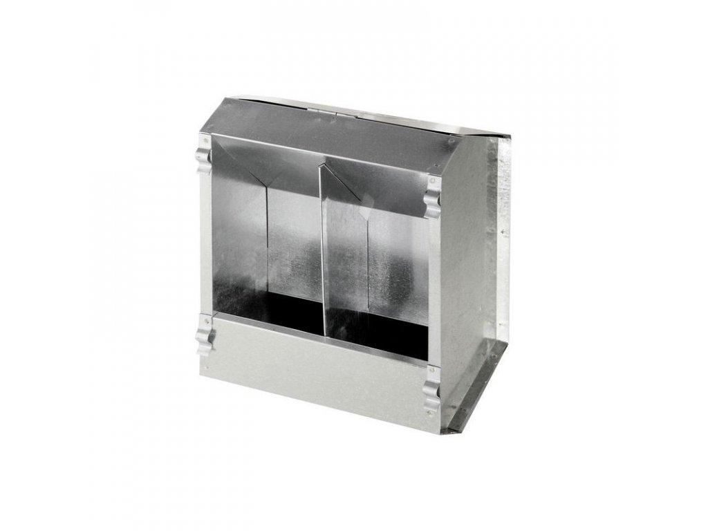 Krmítko závěsné pro králíky a slepice, krmný automat 2-místný, pozink