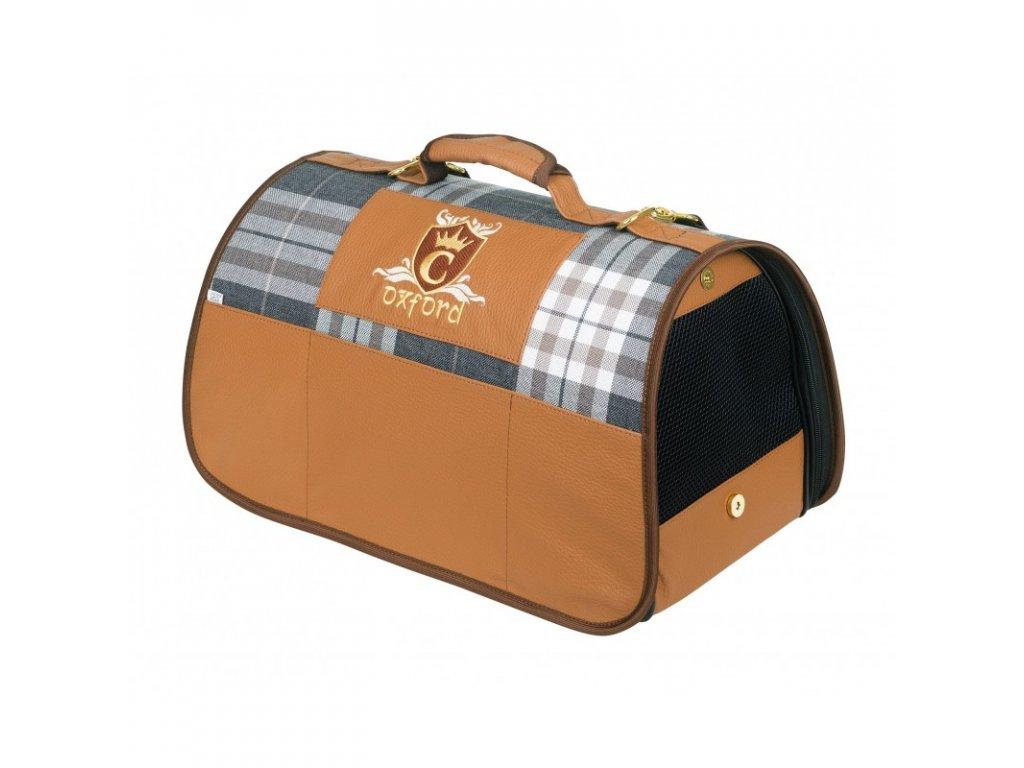CAZO Taška - kabelka cestovní pro psy a kočky Oxford, károvaná, 50 x 27 x 26 cm
