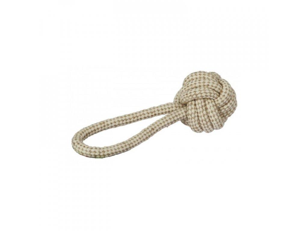 Hračka pro psy - jutové přetahovadlo, balónek na laně, 21 cm
