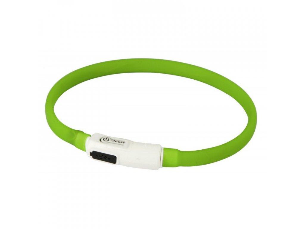 Obojek pro psy silikonový svítící, LED, nabíjecí, zelený, 35 cm