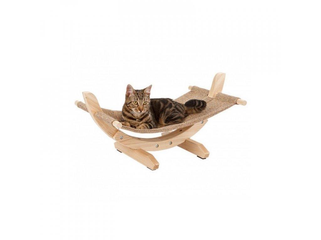 Lehátko houpací SIESTA II, lněná houpačka pro kočky 61x37x29 cm