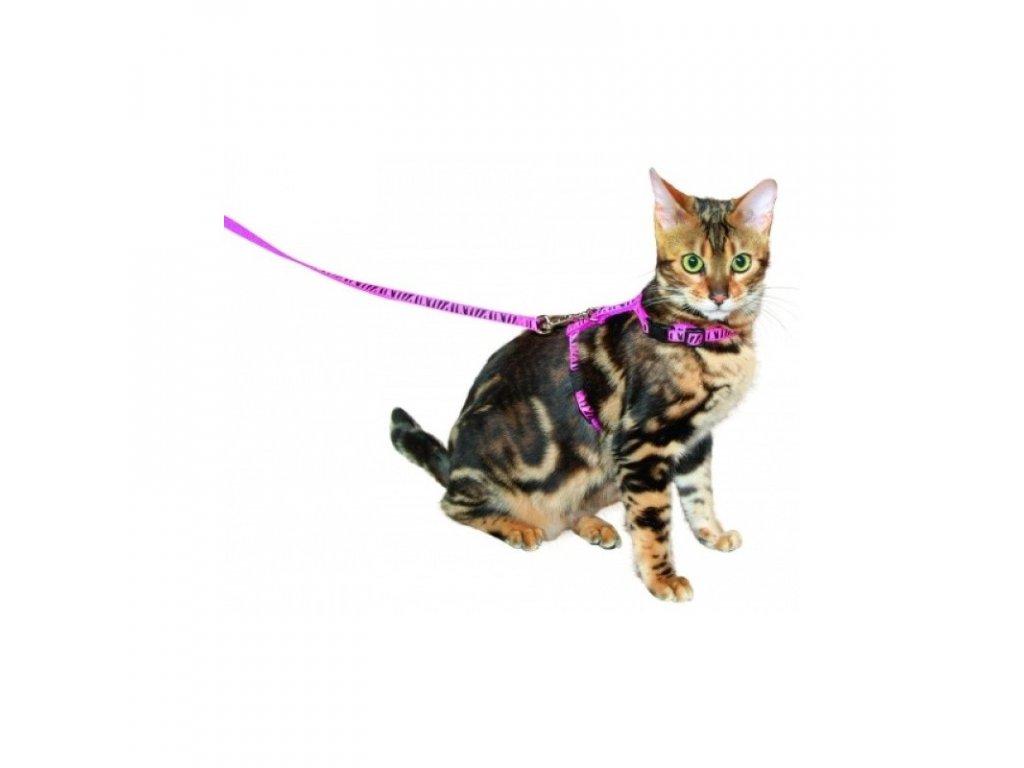 Postroj pro kočky + vodítko, růžový