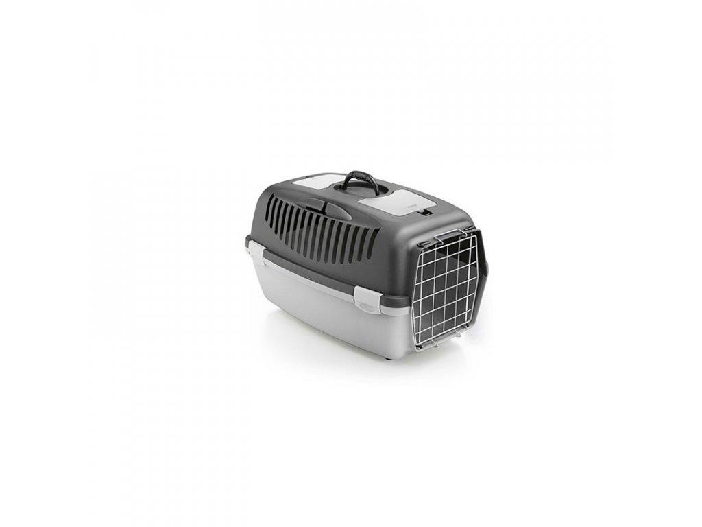 Přepravka pro psy a kočky Gulliver 3, tmavě šedá/světle šedá, 61x40x38cm, kovová dvířka