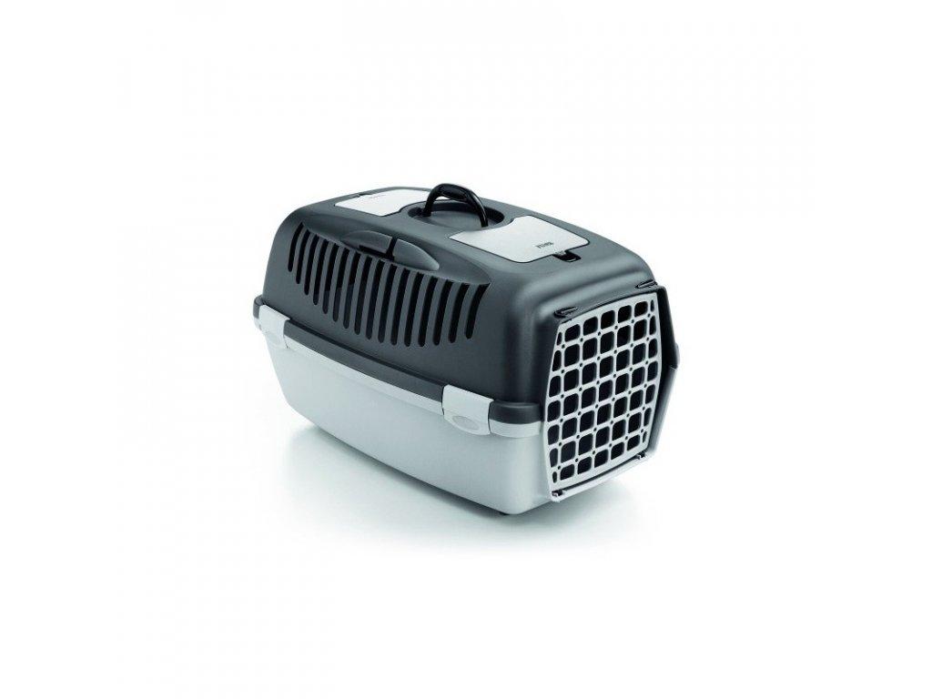Přepravka pro psy a kočky Gulliver 3, tmavě šedá/světle šedá, 61x40x38cm, plastová dvířka