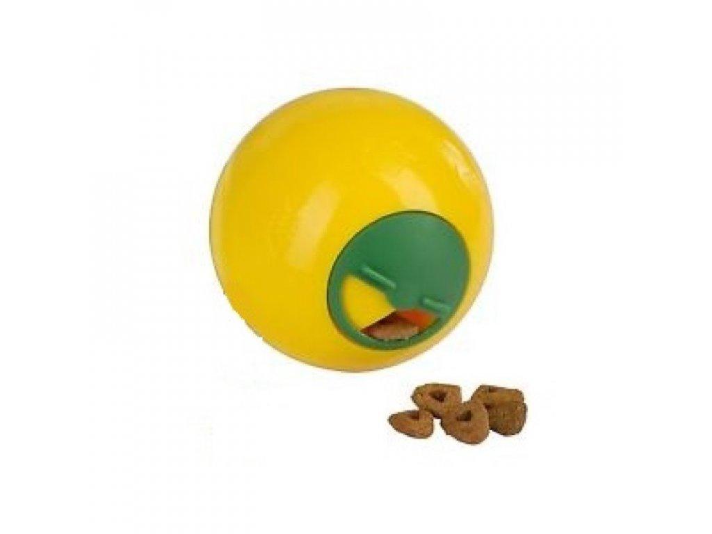Hračka pro kočky interaktivní - míček na pamlsky 7,5 cm, žlutý