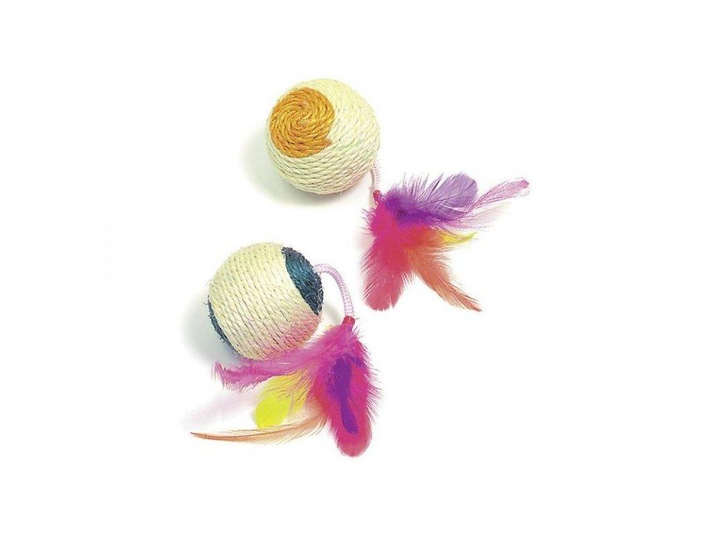 Hračka pro kočky - sisalový míček s pírky 6 cm, s catnipem