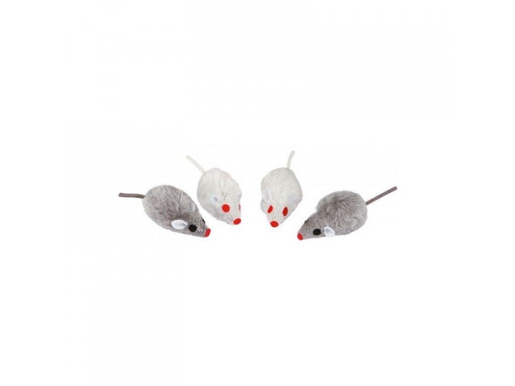 Hračka pro kočky - chlupatá myš s catnipem, 4 ks