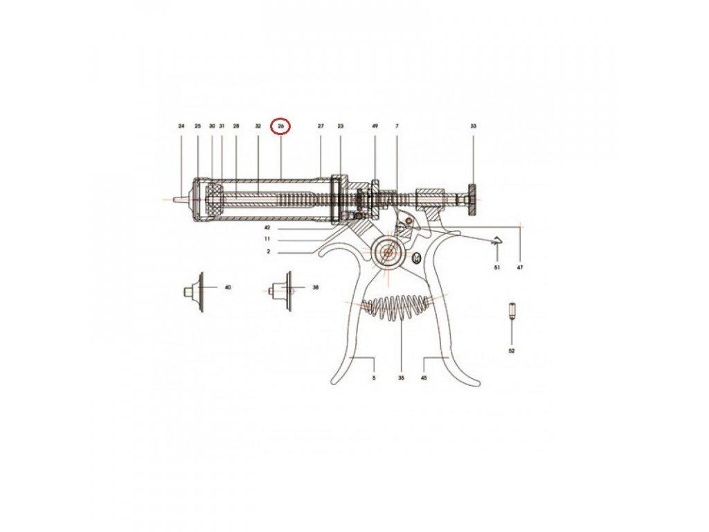 Válec skleněný pro poloautomat Roux-Revolver, 30 ml