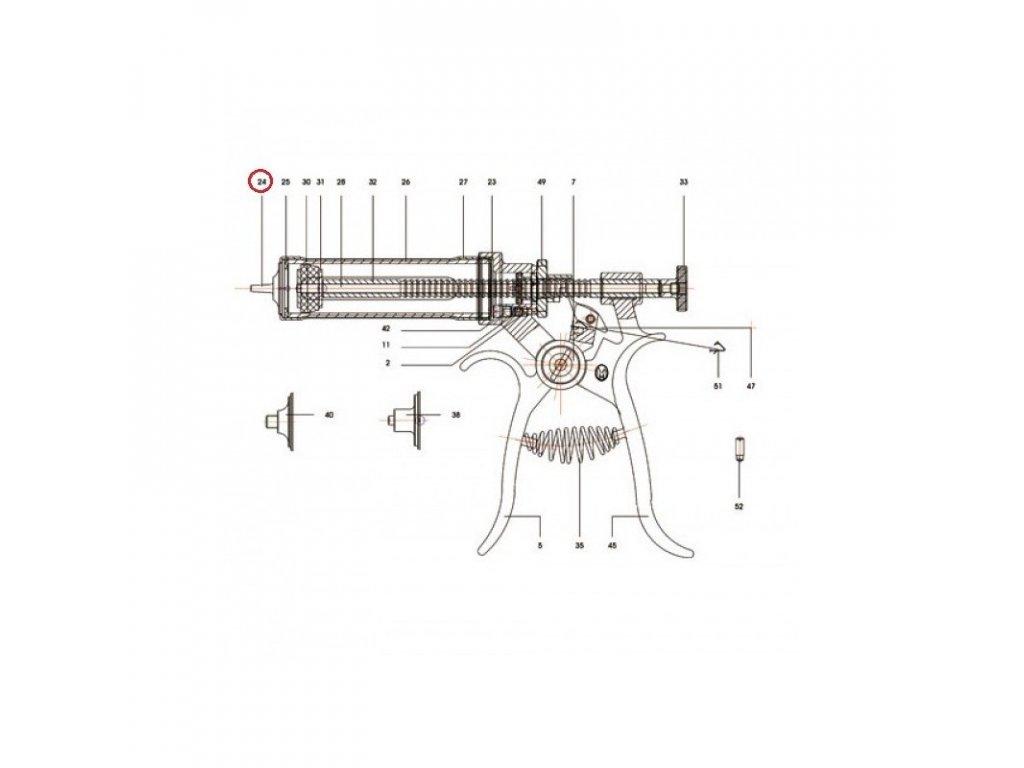 Díl k poloautomatu Roux-Revolver LL, přední, 30 ml, 50 ml