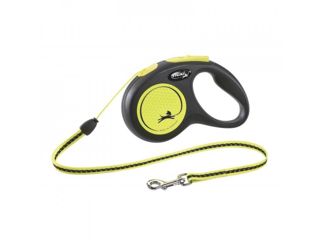 Vodítko samonavíjecí Flexi New Classic Neon S 5 m/12 kg, lanko, žluté