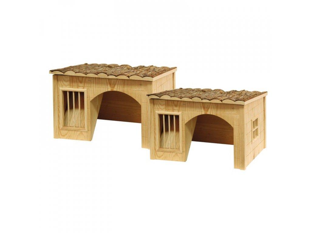Domek pro králíky, s jeslemi na seno