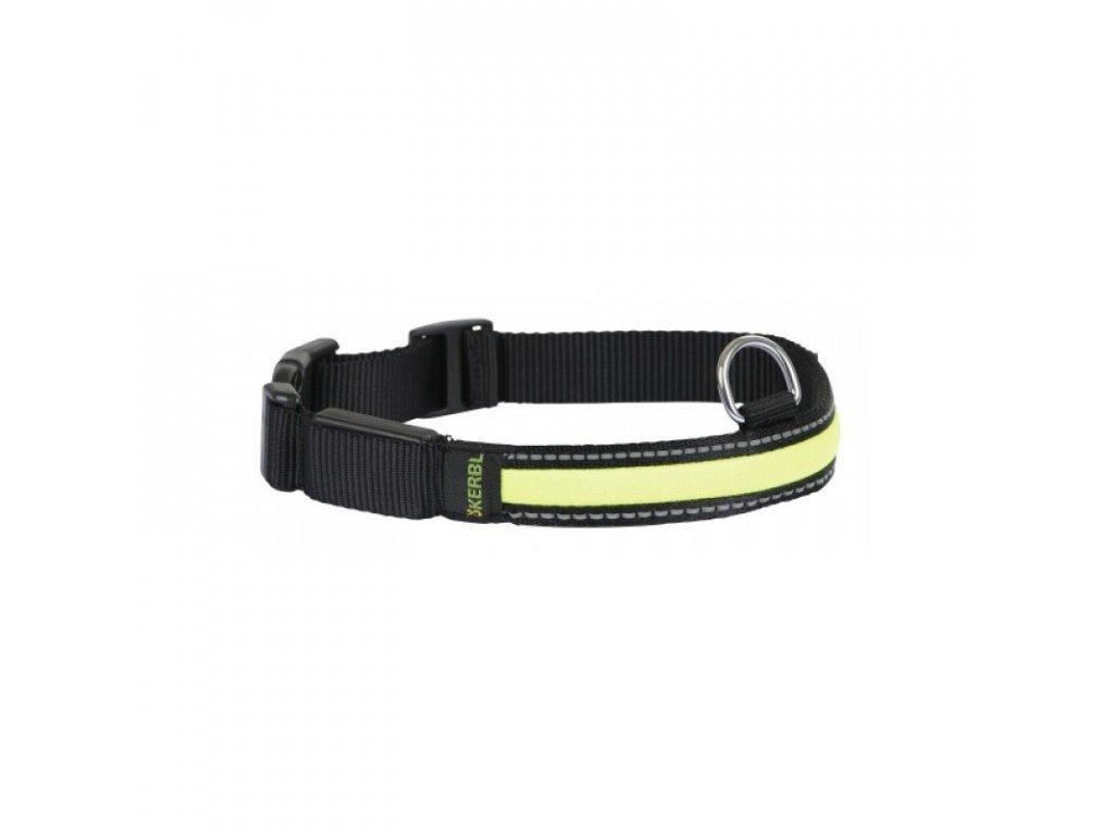 Obojek KERBL pro psy reflexní blikací, černý, 36 - 51 cm