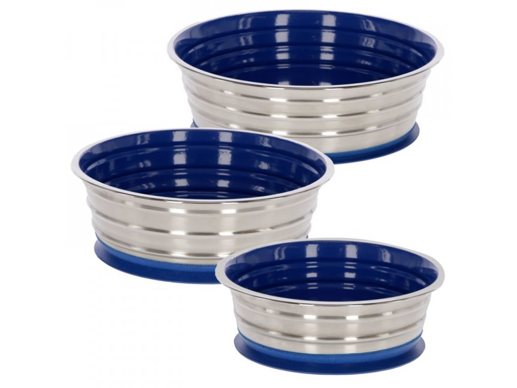 Miska na krmivo nerezová s přísavkou, modrá