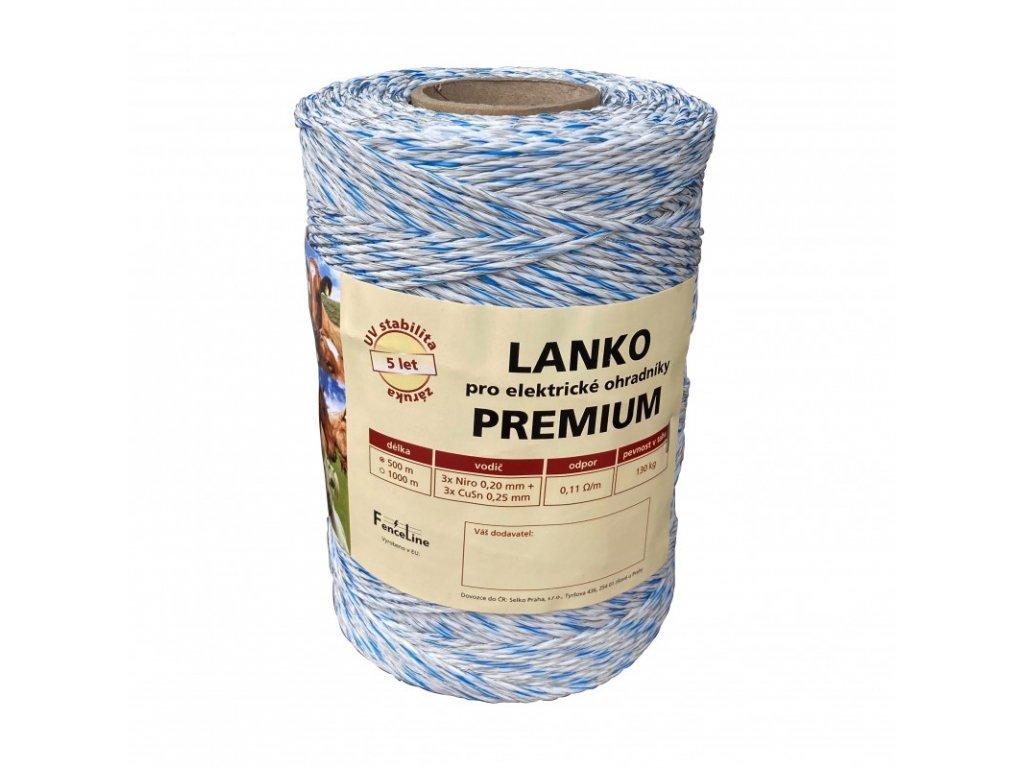 Lanko PREMIUM pro el. ohradník, 3x0,20 mm Niro + 3x0,25 mm CuSn, 500 m, bílo-modrá