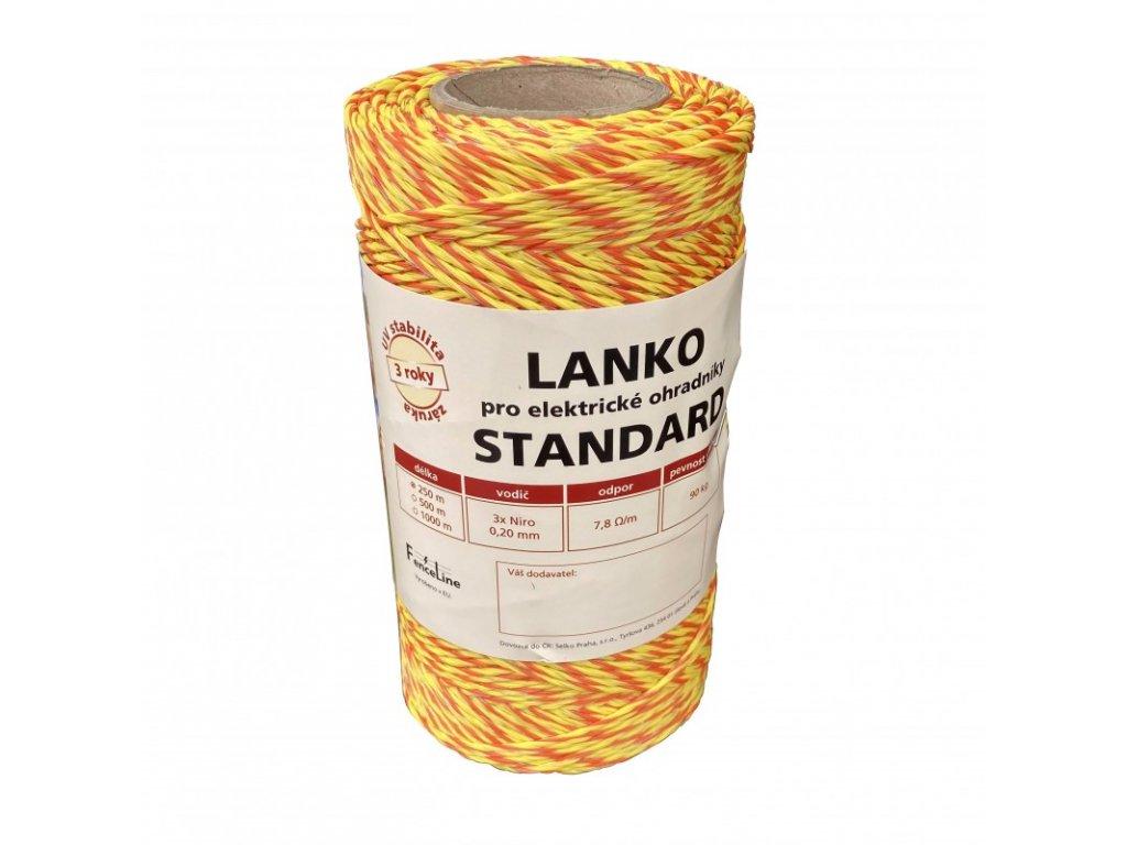 Lanko STANDARD pro el. ohradník, 3x0,20 mm Niro, žluto-oranž.
