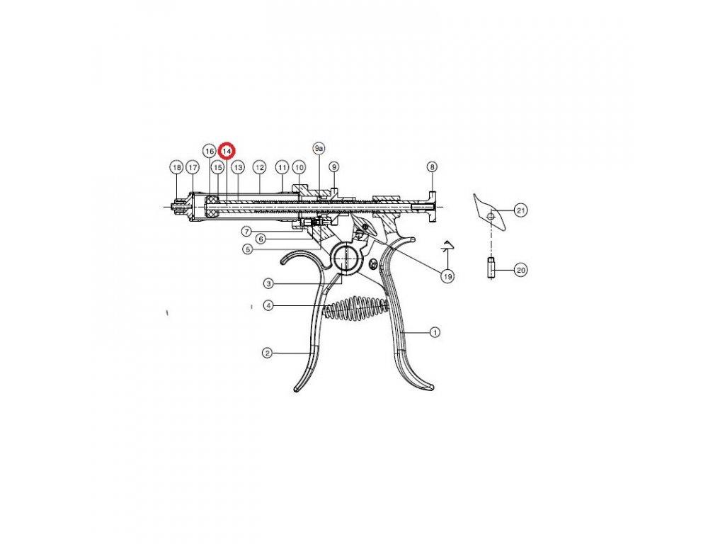 Tyč pístu na Roux-Revolver 50 ml