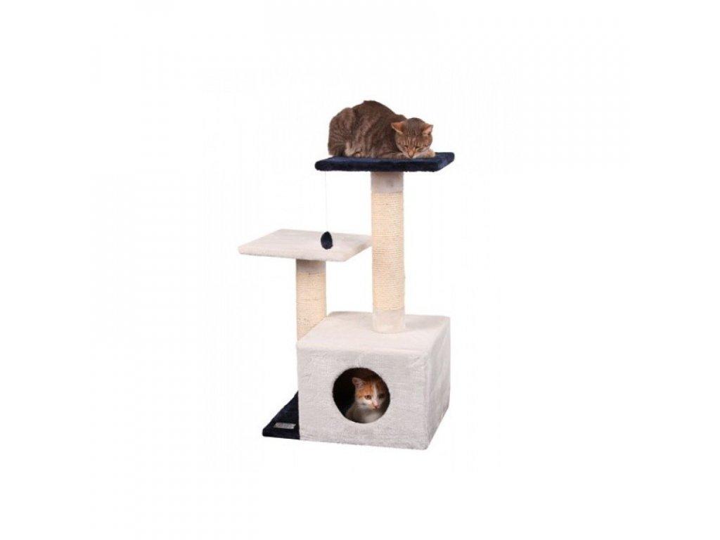 Škrabadlo pro kočky SAPHIR XL - kočičí domek, bílá/modrá