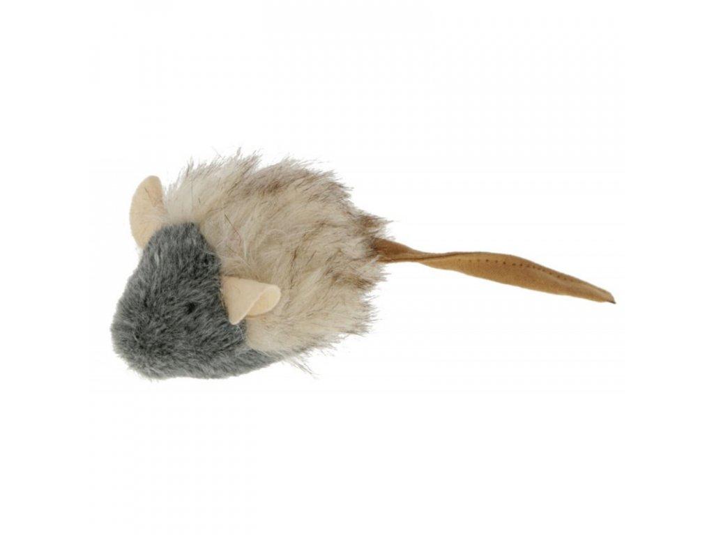 Kerbl hračka pro kočky plyšová - pískací myška, šedá, 15 x 5 cm