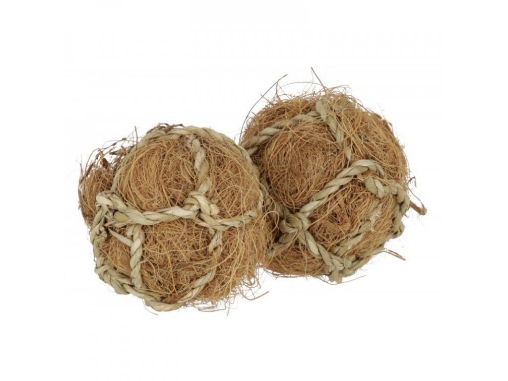 Hrací a okusovací jedlé míčky z kokosového vlákna pro hlodavce, 2 ks