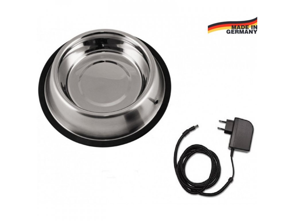 Vyhřívaná miska pro psy a kočky nerezová, 1,8 l, 12 V / 15 W, ochrana odním. kabelu