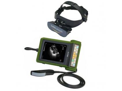 Veterinární přenosný ultrazvuk RKU10 s rektální sondou a brýlemi