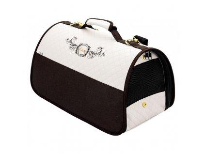 CAZO Taška - kabelka cestovní pro psy a kočky Exclusive, hnědá-bílá, 50 x 27 x 26 cm