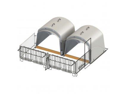 Bouda pro telata skupinová CalfHouse Premium XL s ohrádkou, dvojitý set