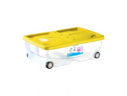 Box úložný Mario, plastový s kolečky, 60 x 40 x 18 cm, žlutý