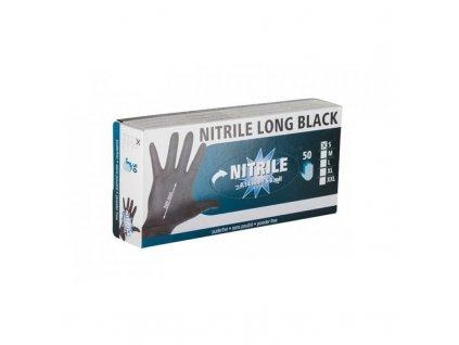 Rukavice nitrilové černé, dlouhé, 30 cm